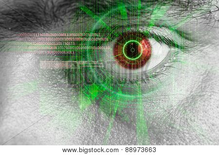 Rendering Of A Futuristic Cyber Eye With Laser Light Effect