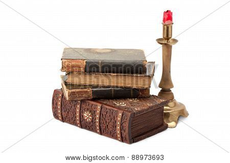 Casket ,old Books And Brass Candlestick