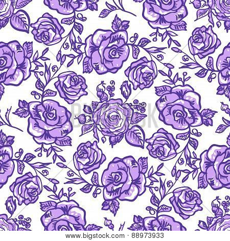 seamless pattern lilac rose