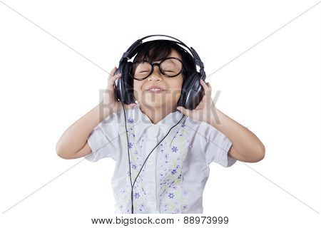 Cute Little Girl With Headphones