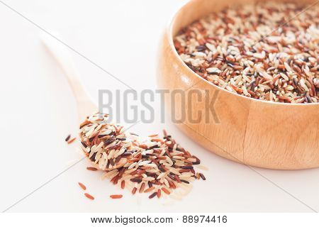 Organic Dry Multi Grain Rice In Wooden Bowl