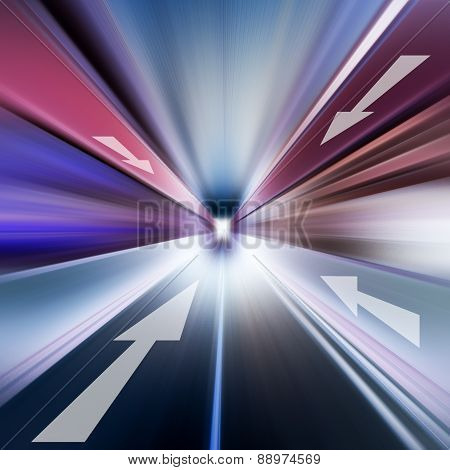 Conceptual Image Of Asphalt Radial And Direction Arrow
