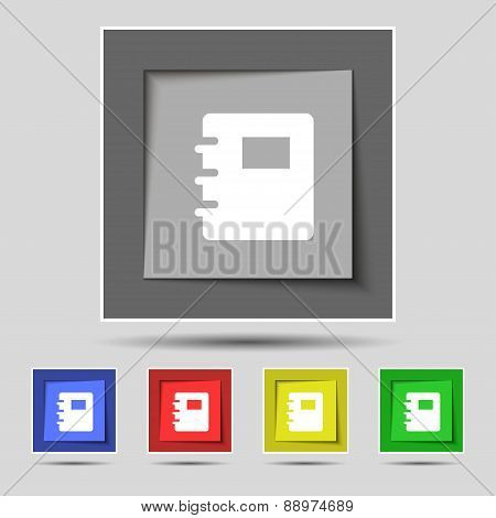 Book Icon Sign On The Original Five Colored Buttons. Vector