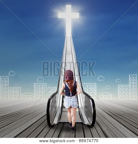 Female Teenager Walks To The Heaven