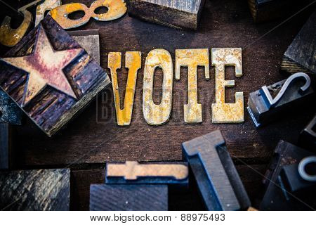 Vote Concept Wood And Rusted Metal Letters
