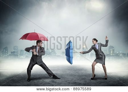 Business people fighting