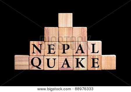 Words Nepal Quake Isolated On Black Background
