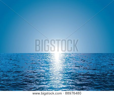 vector illustration of sunrise over sea