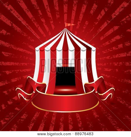 circus tent icon with blank banner on grunge burst background