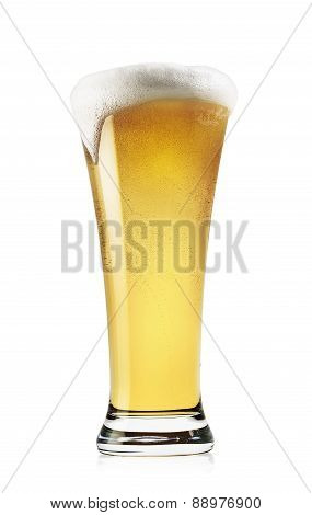 Tall glass of light beer with foam