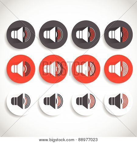 Speaker Icon For Volume, Loudness Or Alarm Concepts. Vector Illustration
