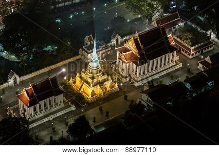 Wat pathum wanaram temple in Bangkok, aerial view from the Centara Grand tower, Bangkok