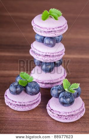 Macaroons with blueberries