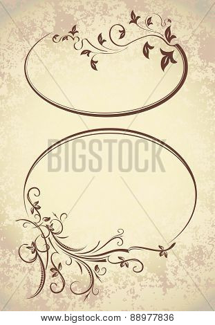 Pair of elegant oval frames on a aged background. Vector illustration for your design.