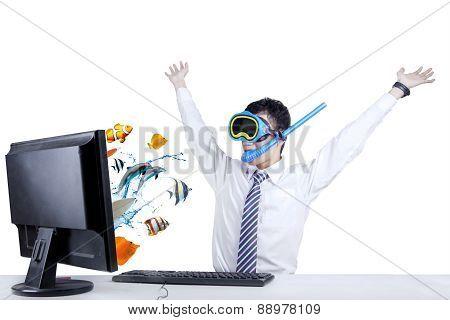 Shocked Businessman With Snorkeling Mask