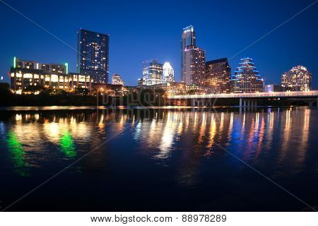 Colorado River Flows Through Austin Texas City Center Downtown Sunset