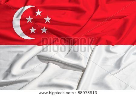 Singapore Flag On A Silk Drape Waving