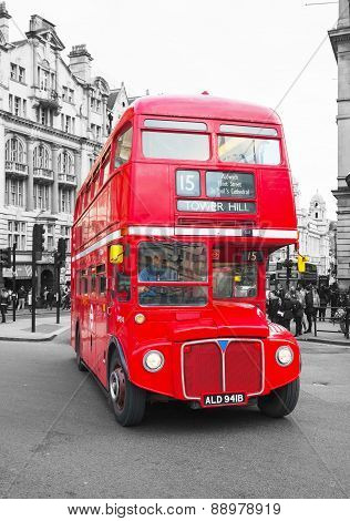 Iconic Red Double Decker Bus In London