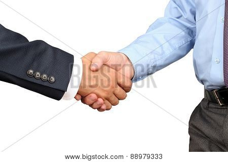 The Close-up Image Of A Firm Handshake Between Two Colleagues On White Background