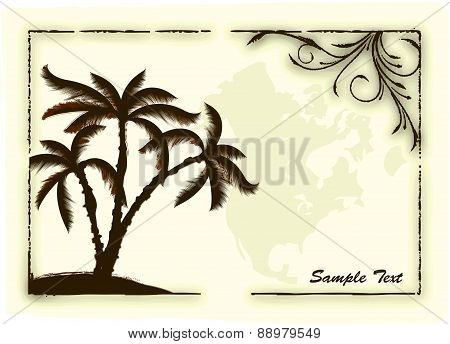 Vector palm tree abstract poster on aged background. Vector illustration for your design.