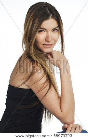 Portrait close up of young beautiful blonde woman, isolated on white background