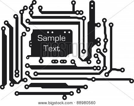 Background in PCB-layout style. Vector illustration for your design and empty space for text.