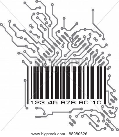 Bar code in PCB-layout style. Vector illustration for your design.