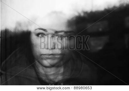 Portrait Of Girl, Reflected In Window Of Train