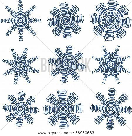 Set of snowflakes in PCB-layout style. Vector illustration for your design.