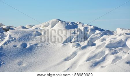 Polar Landscape- Frozen Sea With Blue Sky Background