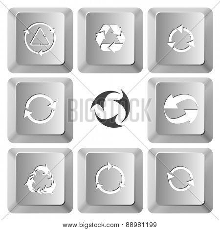 Recycle symbols set. Raster set computer keys.