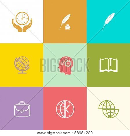 Education set. Flat color raster icons.