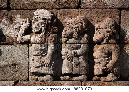 Ancient fretwork, stone carving on Indonesian temple