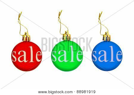 Multicolored Christmas Balls With Sale Tag.isolated.