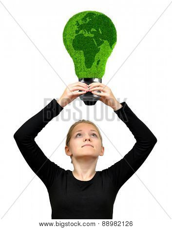 Girl holding in hands eco energy bulb