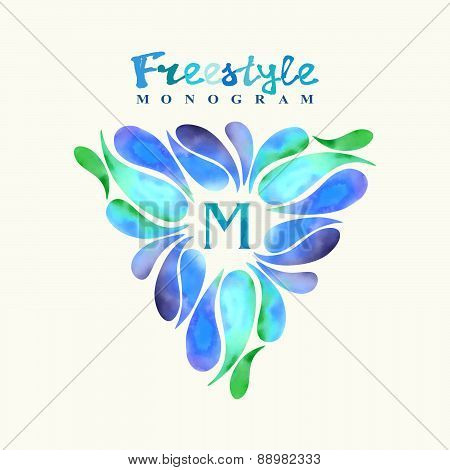Vintage Inspired Watercolor Freestyle Monogram Frame Template