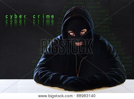 Hacking Expert Man In Hood As Sensitive Information Cracker Cyber Crime Concept