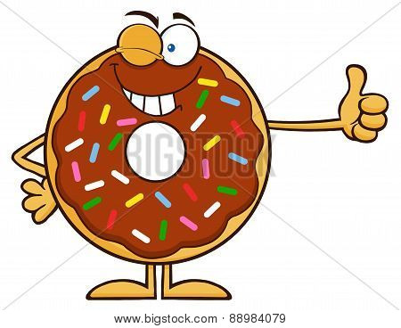 Winking Chocolate Donut Cartoon With Sprinkles Giving A Thumb Up