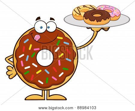 Chocolate Donut Character Serving Donuts