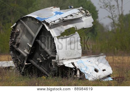 Wreck of a crashed aircraft