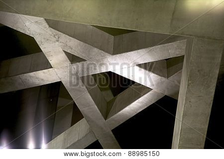 Dark Concrete Interior Beam Structure