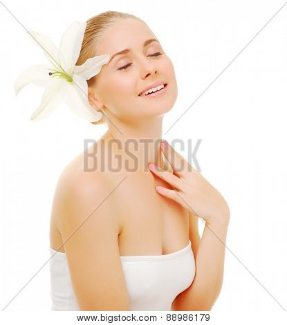 Portrait of young woman with flower isolated