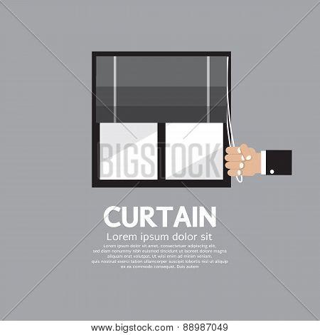 Roman Curtain On Window.