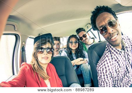 Friends Taking Selfie In The Car