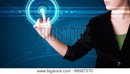 Young woman pressing high tech type of modern buttons