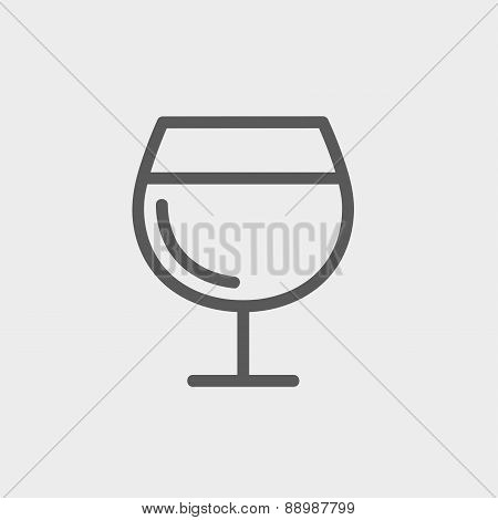 Glass of wine thin line icon
