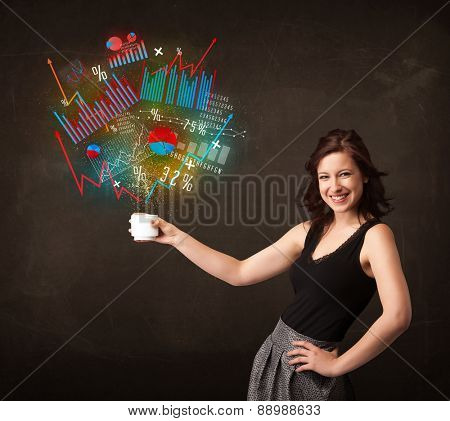 Businesswoman standing and holding a white cup with diagrams and graphs coming out of the cup