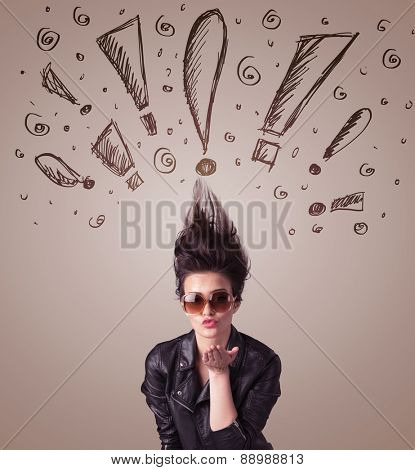 Young woman with hair style and hand drawn exclamation signs concept on background