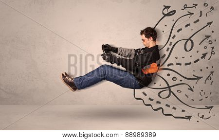 Funny man driving a flying vehicle with hand drawn lines after him concept
