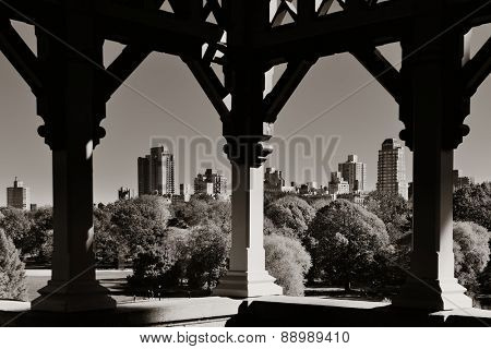 Central Park Autumn and midtown skyline in Manhattan New York City
